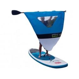 Rolovací plachta na pádlo pro paddleboard MODRO/BÍLÁ S OKÉNKEM